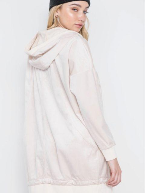 Hooded Velvet Shirt Dress