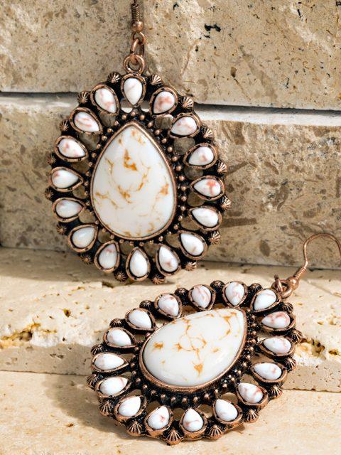 Ivory Blossom Tear Drop Earrings