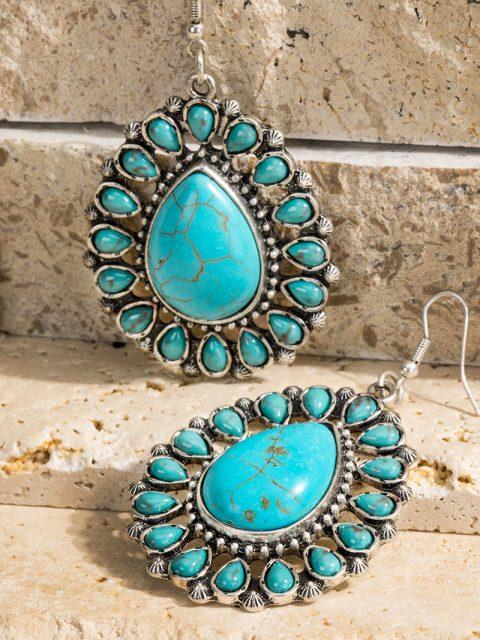 Turquoise Blossom Teardrop Earrings