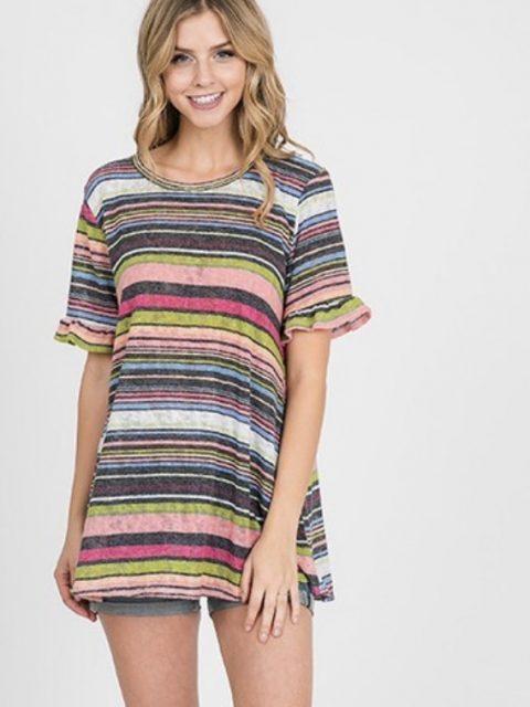 Striped Ruffle Sleeve Top