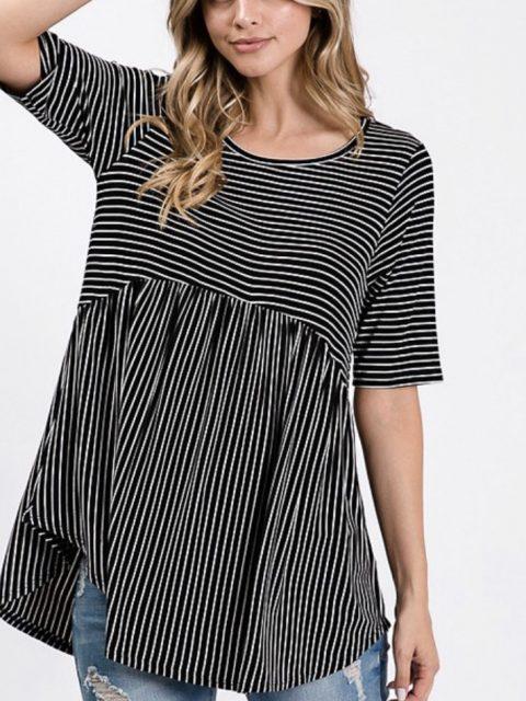 Basic Striped Top-Navy/White