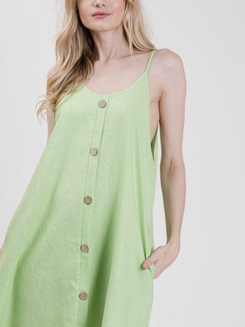 Linen Button Detail Dress: Lime