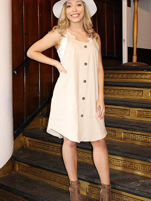 Linen Button Detail Dress: Natural