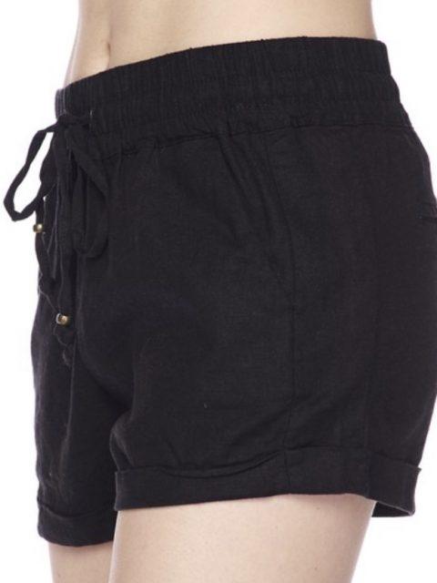 Black Linen Drawstring Shorts