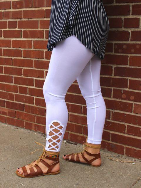 Lattice Hem High Waist Leggings-White