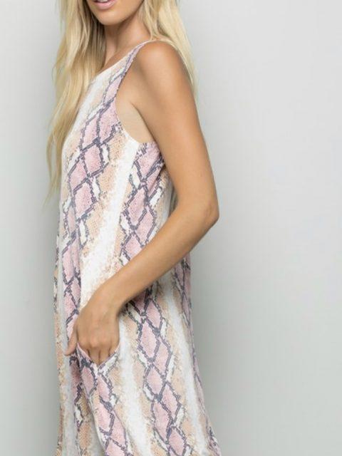 Sleeveless Snake Print Dress With Pockets