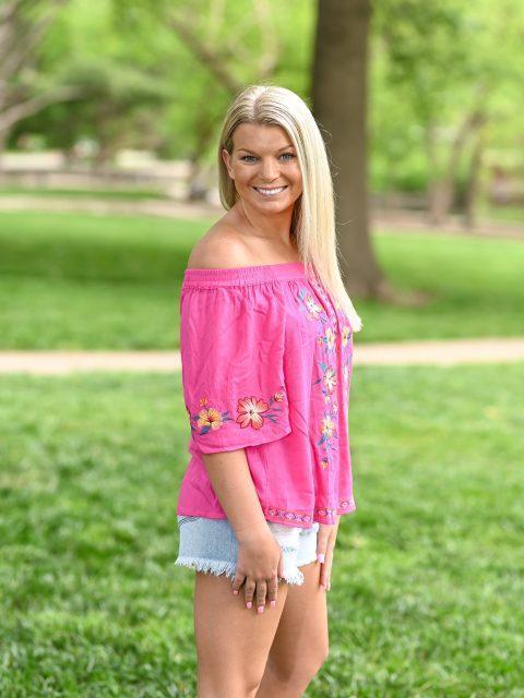 Off the Shoulder Embroidered Shirt-Hot Pink