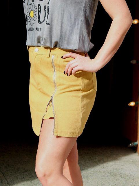 Mustard Side Slit Skirt