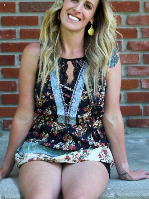 Caged Floral Tank Top