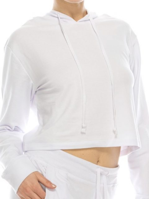 The Harper Cropped Hoodie in White