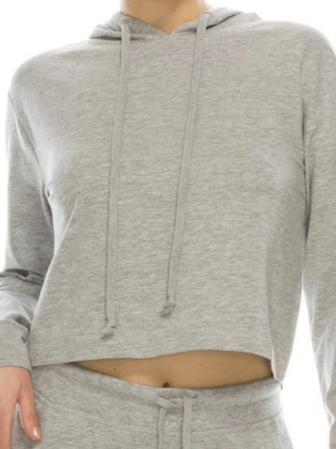 The Harper Cropped Hoodie in Heather Gray