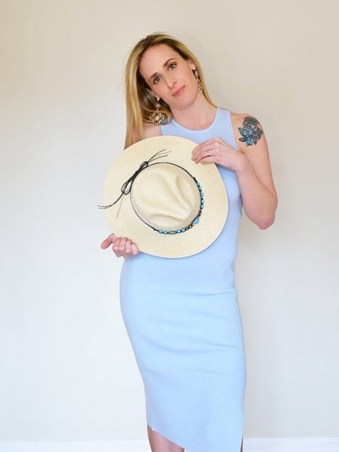 The Wyatt Straw Hat- Ivory with turquoise detail