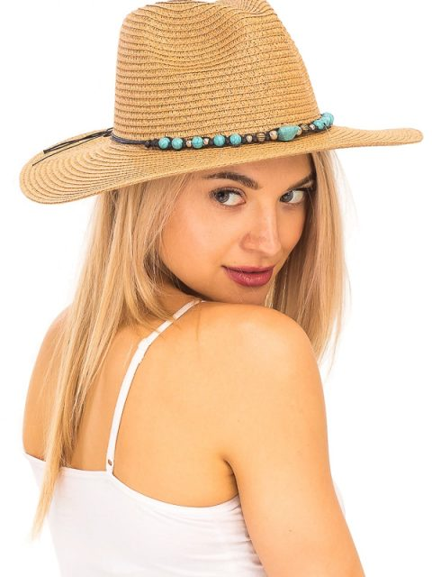 The Wyatt Straw Hat- Tan with Turquoise Detail